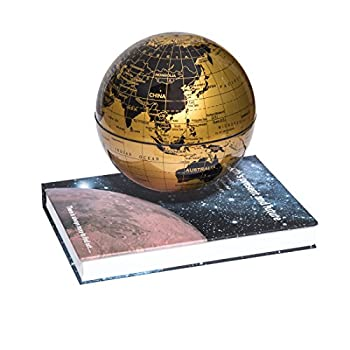 "woodlev Magnetic Maglev Levitation Levitron Floating Rotating 6"" Globe Gold & Blue Book Style Platform Lreaning Education Home Decor (Gold)"