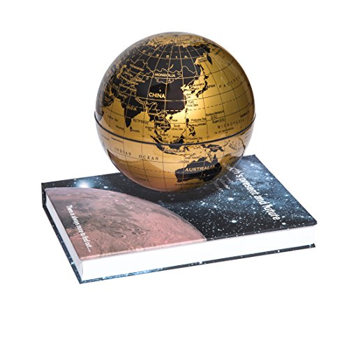 "woodlev Magnetic Maglev Levitation Levitron Floating Rotating 6"" Globe Gold & Blue Book Style Platform Lreaning Education Home Decor (Gold) 1"