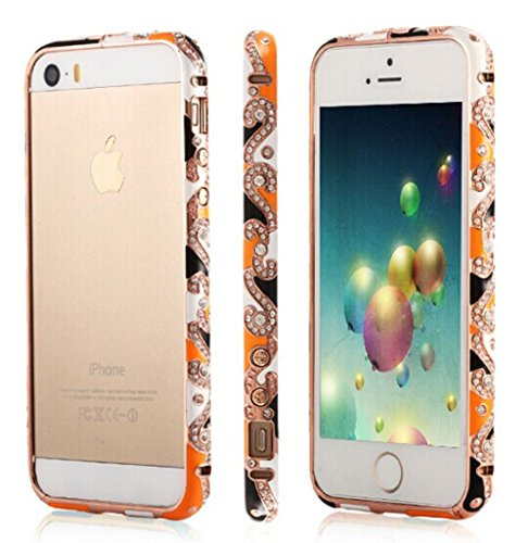Angelia 2014 Fashio Luxury Bling Glitter Crystal Bling Diamond Bumper Case For Iphone 5S 5 Easter Art Traditional Chinese Pottery Painted Colorful Bumpers (Orange)