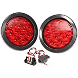 """PAIR BRAND NEW RED LENS 4"""" ROUND LED STOP TURN TAIL LIGHT INCLUDES LIGHT, GROMMET, PLUG"""