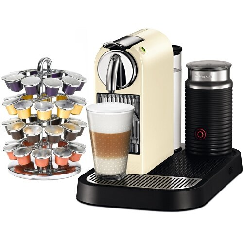 Nespresso D120 Citiz & Milk Classic White Espresso Machine Plus Free Coffee Carousel