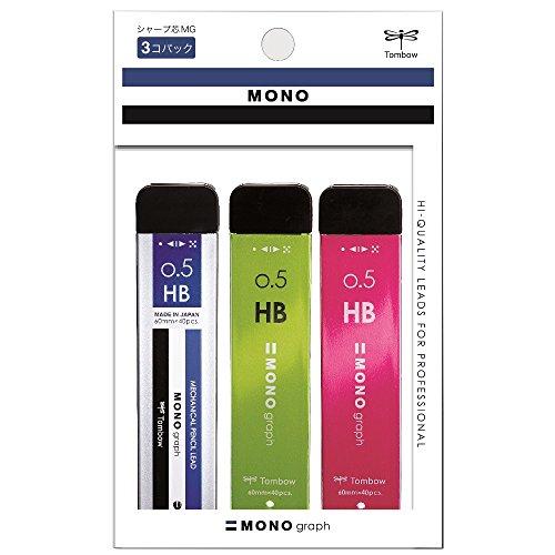 トンボ鉛筆 シャープ芯 モノグラフMG 0.5 HB ECG-321X 3色 3個