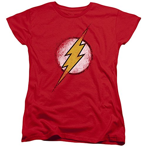 The Flash Logo Vintage Style DC Comics Superhero Women's T-Shirt Tee (Super Hero Tee Shirts For Women compare prices)