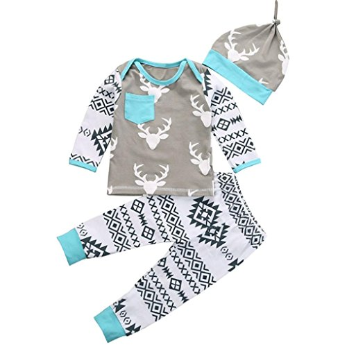 Gillberry Kid Baby Girls Boy Clothes Christmas Deer Romper+Pant Hat Outfit Set (Size:18M, Gray) (1000 Piece Personal Photo Puzzle compare prices)