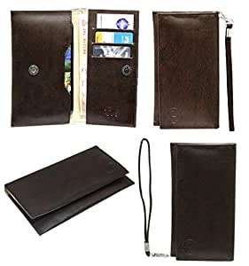Jo Jo A5 G3 Leather Wallet Universal Pouch Cover Case For Yu YU6000  Dark Brown