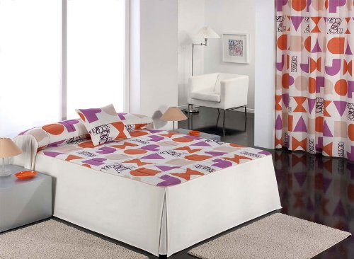 Barbadella - Colcha edredón treviso, medidas cama 105 cm, color naranja