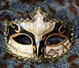 【今日から 貴族 の仲間入り】ベネチアン マスク マスケラ カーニバル 仮面 舞踏会 仮装 変装 (黒)