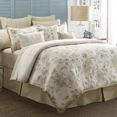 Nautica Full / Queen Duvet Cover Floral Beige Yellow Cypress Point front-107238