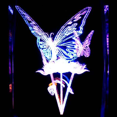 Butterflies S1 3D Laser Etched Crystal + Rotating Display Light Base With 7 Multi Color Led'S