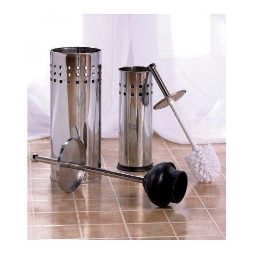 toilet brush holder plunger set stainless steel or bronze set perfect. Black Bedroom Furniture Sets. Home Design Ideas