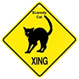 KC Creations Scaredy Cat Xing Caution Crossing Sign Cat Gift