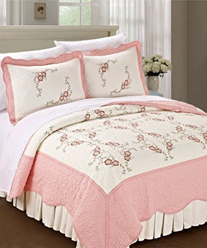 Serenta Classic Embroidery Prewashed Pink Chrysanthemum Microfiber Bedspread Quilt Blanket 3 Pieces Bed Set (Queen), Light Pink (Eiderdown Quilt compare prices)