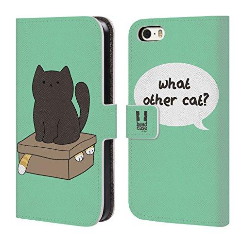 Head Case Designs What Other Cat Ceiling Cat Vs Basement Cat Cover telefono a portafoglio in pelle per Apple iPhone 5 / 5s