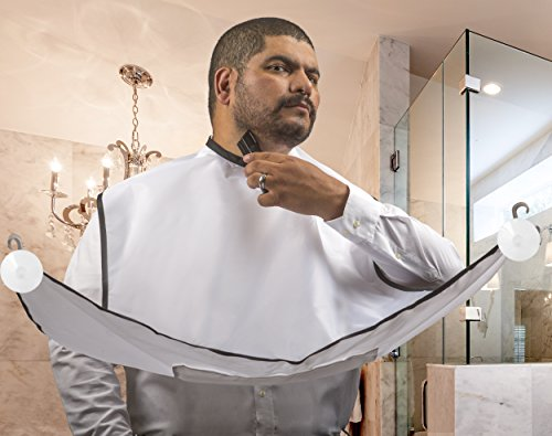 Beard Acumen Beard Catcher - Hair Catcher Cape for Shaving - Grooming Apron Keeps Sink Clean After a Trim (White) (Ladies Shaving Machine compare prices)