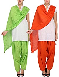 Womens Cottage Women's Combo Pack Of 2 Pure Solid Cotton Semi Patiala Salwar & Cotton Dupatta Stole With Lace - B01C46XTR8