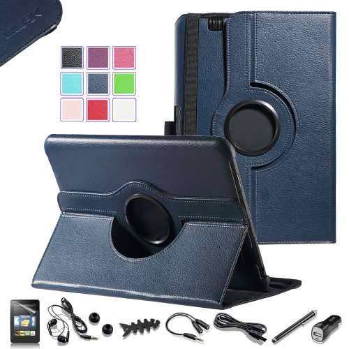 """Pandamimi Ulak(Tm) Luxury 360 Degree Rotating Stand Pu Leather Case Cover For Amazon Kindle Fire Hd 8.9"""" Inch Tablet With Auto Sleep/Wake Function With Screen Protector And 7-In-1 Accessories Bundle (Headphone/Usb Cable/Car Charger/Stylus/Earphone Splitte"""