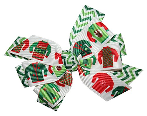 WD2U Girls Deluxe Chevron Ugly Christmas Sweater Party Hair Bow Alligator Clip