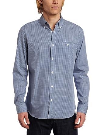 Calvin Klein Sportswear Men's Slim Fit Long Sleeve Yarn Dye Mini Gingham Check Woven Shirt, Monaco Blue, X-Small