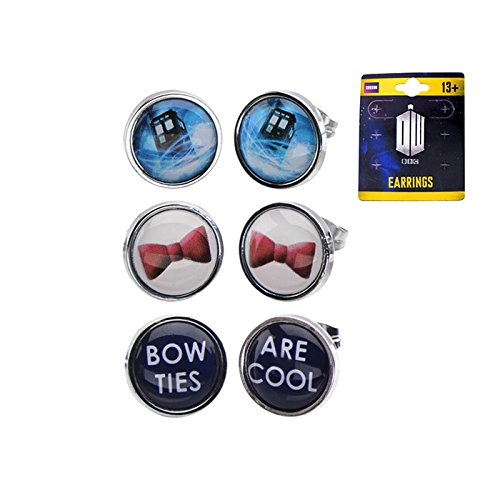 Official TARDIS, Bow and Bow Ties Are Cool Steel Stud Earrings - 3 Pack Set by Doctor Who - BBC