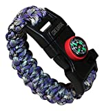 Paracord Bracelet Paracord Survival Bracelet - Hiking Multi Tool, Emergency Whistle, Compass for Hiking, Camp Fire Starter (Purple Camo)