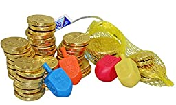 Delicious Milk Chocolate Coins - Hanukkah Gelt - 24 Sacks, 4 Colorful Dreidels
