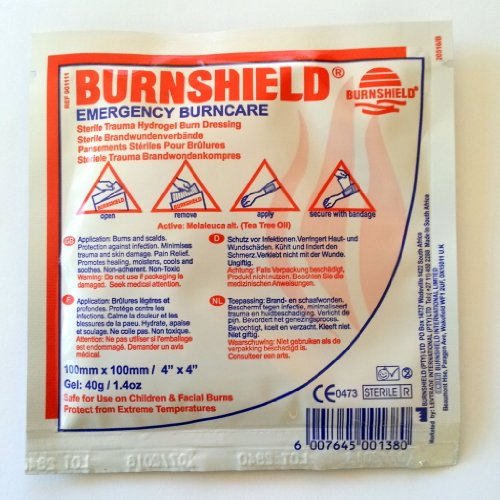 New Burnshield Emergency Burncare Burn Dressing Wound Pad 10cm x 10cm.