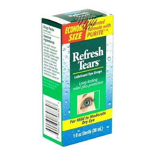 Refresh Tears Lubricant Eye Drops for Mild to Moderate Dry Eyes, Economy Size, 1 Fluid Ounce (30 ml)