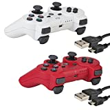 2 Pack Bluetooth Wireless Controller for PS3 Controller Double Shock Gamepad 6-Axis Game Controller for Playstation 3 Bonus 2 Charging Cable by Kabi Red+White