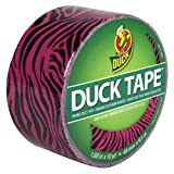 Duck Brand 280338 Pink Zebra Printed Duct Tape, Pink/Black, 1.88-Inch by 10 Yards, Single Roll