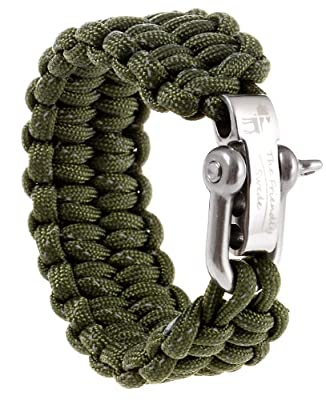 Emergency Quick Deploy - The Friendly Swede Premium 500 lb Paracord Survival Bracelet with Silver Stainless Steel D Shackle - Adjustable Size Fits 6.5-7.5 Inch Wrists - In Retail Packaging
