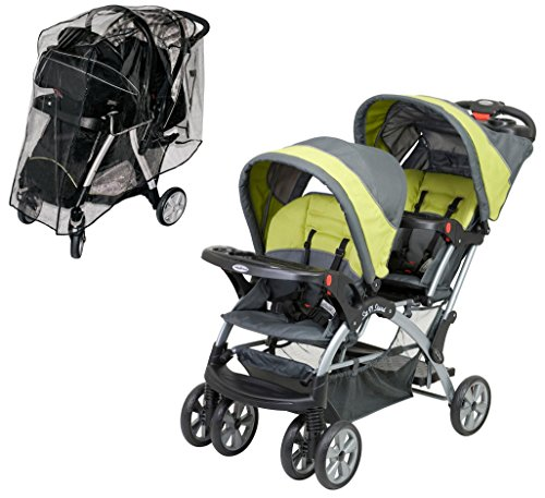 Baby Trend Sit N Stand Double Stroller with Weather Shield, Carbon