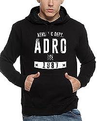 ADRO Men's Premium Cotton Printed Hoodie Sweatshirt (Black)
