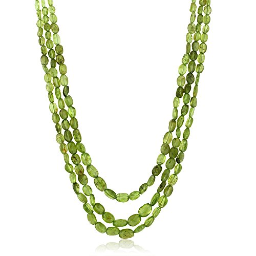 august birthstone necklaces - 350 Ctw Peridot String 3-Strand 20