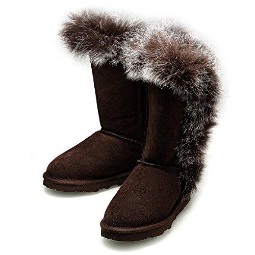 KOS Signature-Grace Short, Cioccolato,Pelle di Pecora/Foxy Pelliccia Inverno Stivali da Neve Donna 38