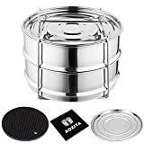 Aozita Stackable Steamer Insert Pans with Sling for 5/6/8 Quart Instant Pot Accessories - Stainless Steel Food Steamer for Pressure Cooker, Baking, Lasagna Pans, Upgrade Interchangeable Lids Included