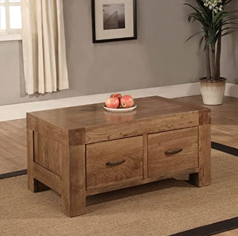 Devon 2 drawer coffee table solid reclaimed oak wood furniture
