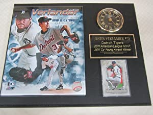 Justin Verlander Detroit Tigers Collectors Clock Plaque w 8x10 Photo and Card by Justin