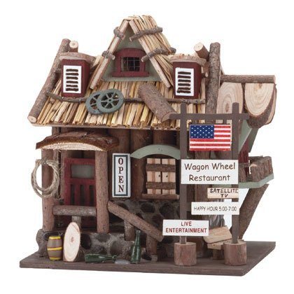 Gifts & Decor Wood Wagon Wheel Restaurant Wooden Bird House