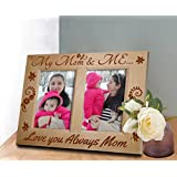 TIEDRIBBONS Exclusive Wood Engraved _my Mom & Me _Gift For Mummy Two Picture Frame (9.1 X 11.5) Inch