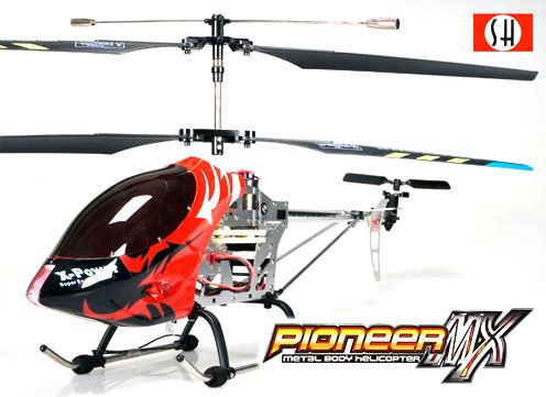 Pioneer MX 3 Channel Pro Gyroscope Infrared RC Control Metal Body Helicopter - (RED)