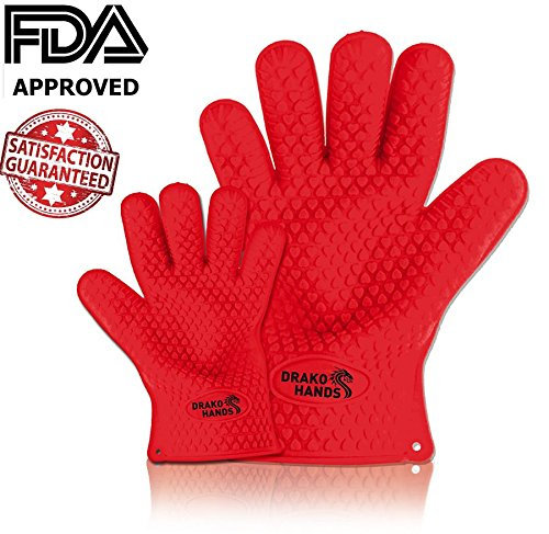 Drako Hands Cooking & BBQ Silicone Gloves - The Thickest & Strongest Gloves Available - Safely Handle Hot of Frozen Food in Kitchen - Safer Than Regular Oven Mitts - Best Grill & BBQ Accessories - Fir
