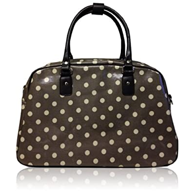 Oilcloth Polka Dot/Flower/Owl Print Holdall Weekend Travel Bag (POLKA DOT KHAKI)