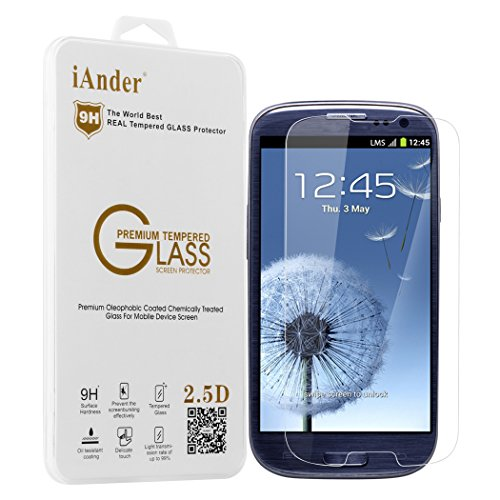 iAnder Premium Tempered Glass Screen Protector for Samsung Galaxy S3 - Screen Protector for Samsung Galaxy S3 (Phone Accessories For S3 compare prices)