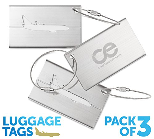 Luggage Tags 3 Units, Stainless Steel. 1-Year