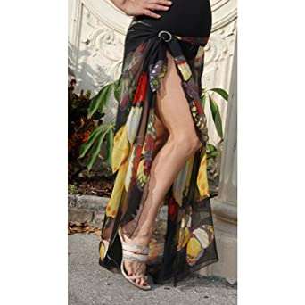 Nicole Maternity Womens Black Butterfly Print Sarong Cover One Size
