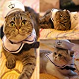 Vedem Small Dog Cat Puppy Adjustable Outfit Costume Hat & Cape 2pcs (Sailor)