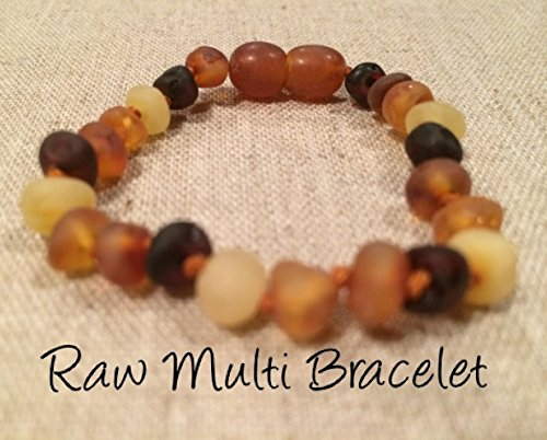 Baltic Amber Teething Bracelet for Babies (Unisex) (Multi) - Baby, Infant, and Toddlers will all benefit. Raw Unpolished Multi Anti Flammatory, Drooling & Teething Pain Reduce Properties - Natural Certificated Oval Baltic Jewelry with the Highest Quality Guaranteed. Easy to Fastens with a Twist-in Screw Clasp Mothers Approved Remedies! Helps with soothing and insomnia, stress, and some reflux & eczema.