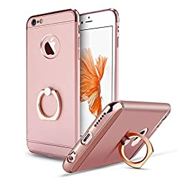 iPhone 6 Case,Inspirationc® Ultra-thin 3 in 1 Plastic Hard Skin 360 Degree Rotating Ring Kickstand for Apple iPhone 6/6S 4.7 Inch--Rose Gold