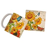 Sunflower Postcard Mug and Coaster Set