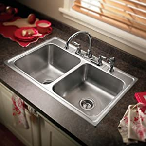 """Camelot 33"""" x 22"""" Unequal Double Bowl Drop-In Kitchen Sink"""